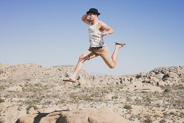 Man running jump